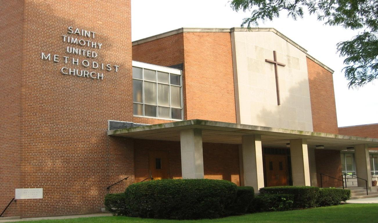 The main entrance to St. Timothy's Methodist Church in Detroit